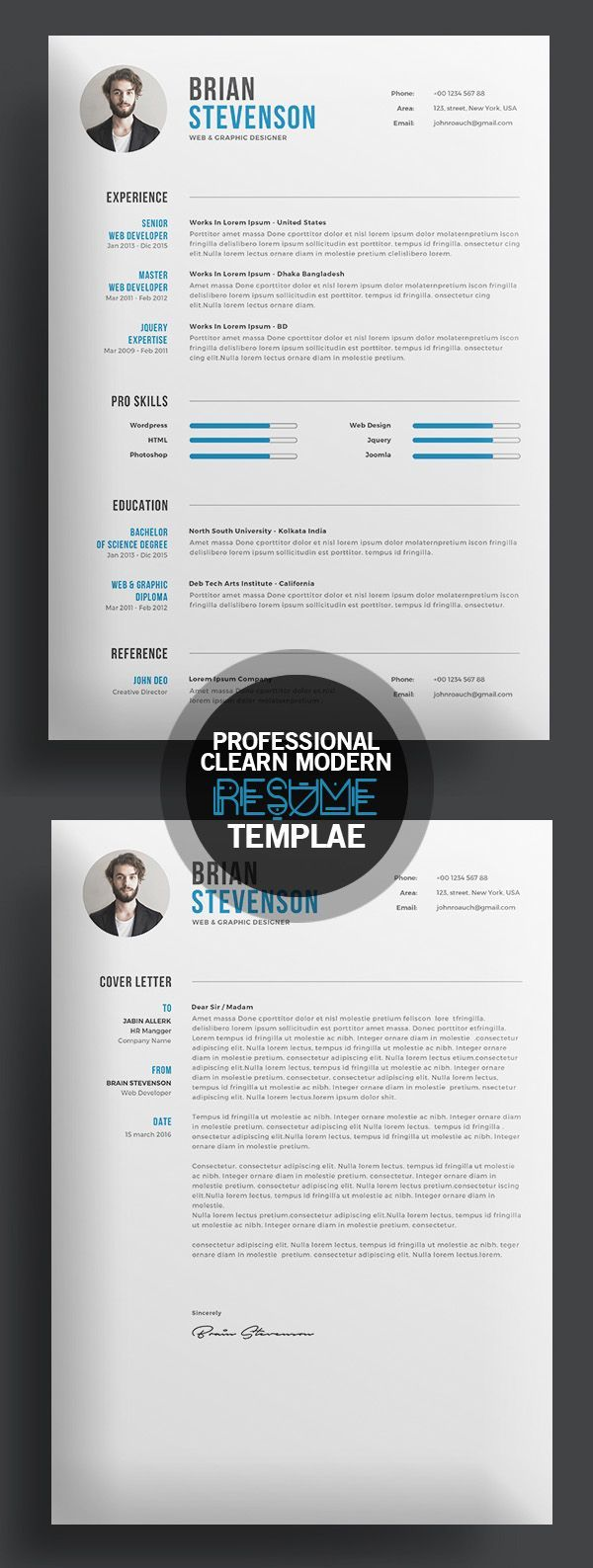Creative Clearn Professional Resume Template | cv | Pinterest ...