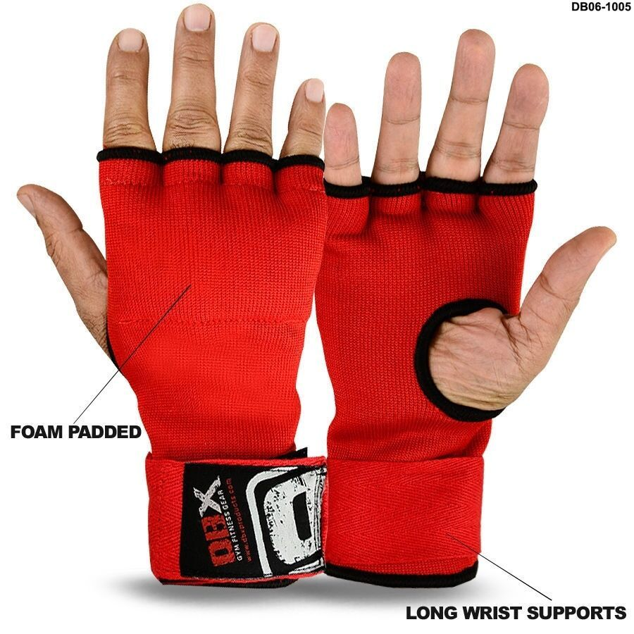 Boxing Padded Gloves Long Wraps Foam Padded MMA Fight Pair Red