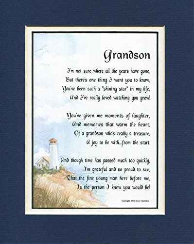 For My Grandson 8x10 Poem Double Matted In Navy White Poems For