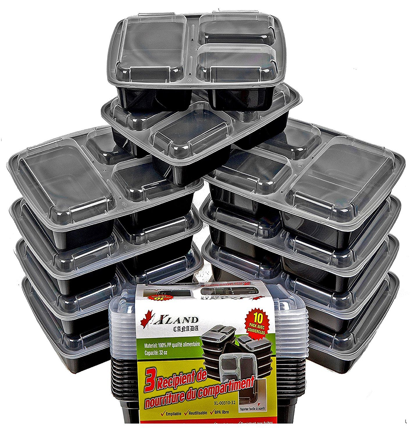 Xland Canada 3 Compartment Food Container 32 oz Plastic Bento Boxes, Black / 100 % Food Grade PP (10): Amazon.ca: Home & Kitchen
