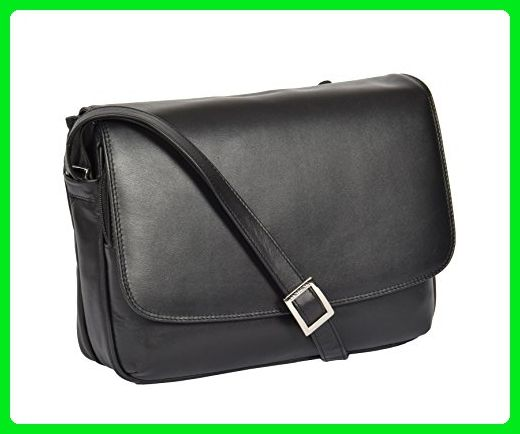 Womens Black Shoulder Leather Organiser Cross Body Work Messenger Bag A190 Crossbody Bags