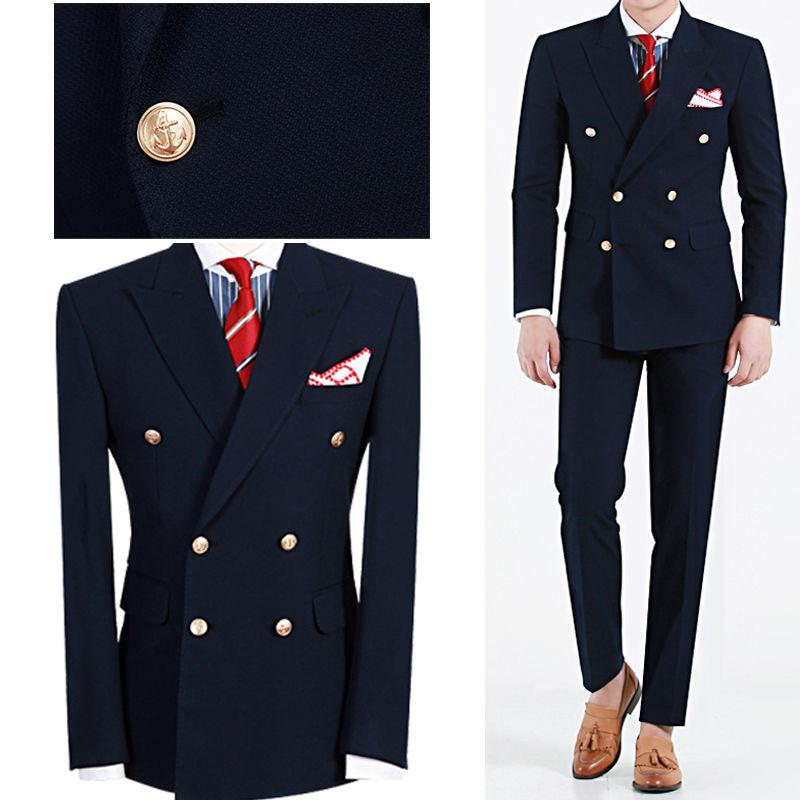 d3a99a46b00ffb Latest Design Hot Selling Fashion Navy Blue, Peaked Lapel Double ...