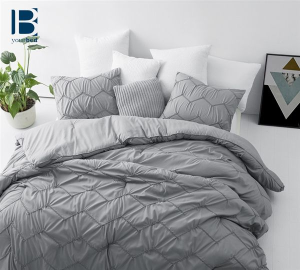 Our Textured Waves Comforter Features A Neutral Gray Color That Will Provide A Lot Of Versatility In Your B Grey Comforter Sets Grey Comforter Comforter Sets