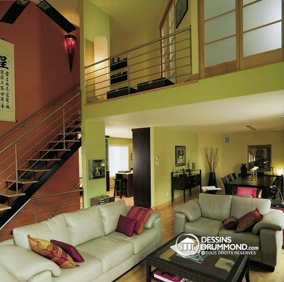 escaliers salle de séjour du modèle (plan de maison) 2945 de Dessins