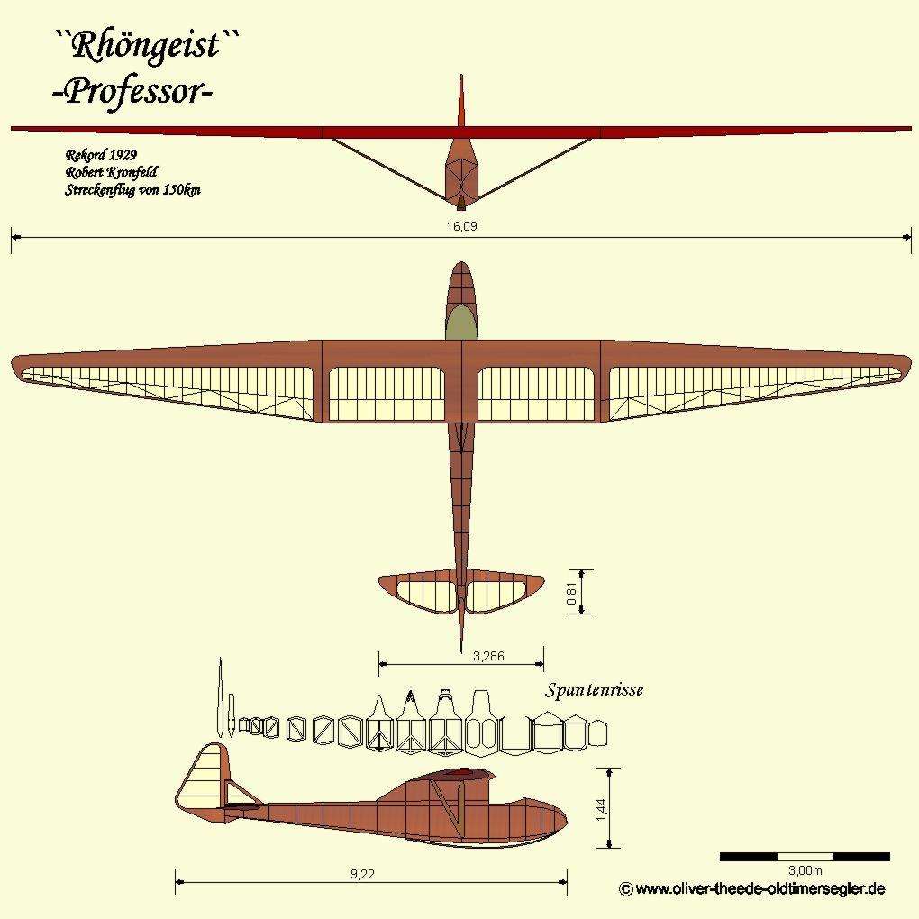 Grunau Rhongeist Professor Segel Modellbau Flugzeuge Segelflugzeug