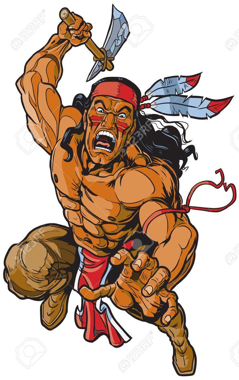ef7c2b3b6b10e Vector - Vector cartoon clip art illustration of an Apache Native American  warrior or brave leaping toward the viewer and attacking with a tomahawk.
