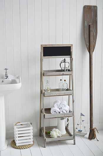 Montauk Wooden Freestanding Shelves For Bathroom Storage In Country And  Coastal Interiors