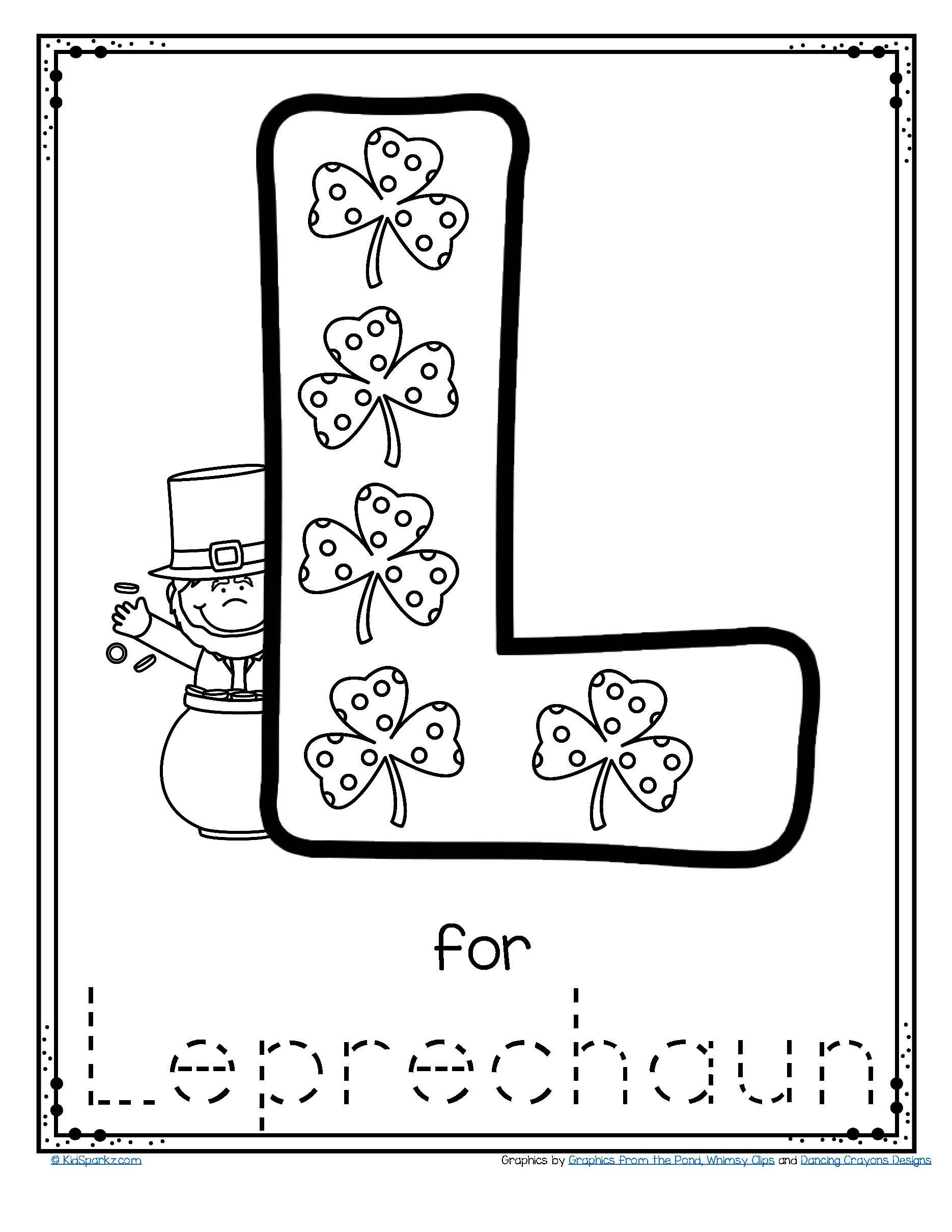 FREE L for leprechaun alphabet trace and color printable to download ...