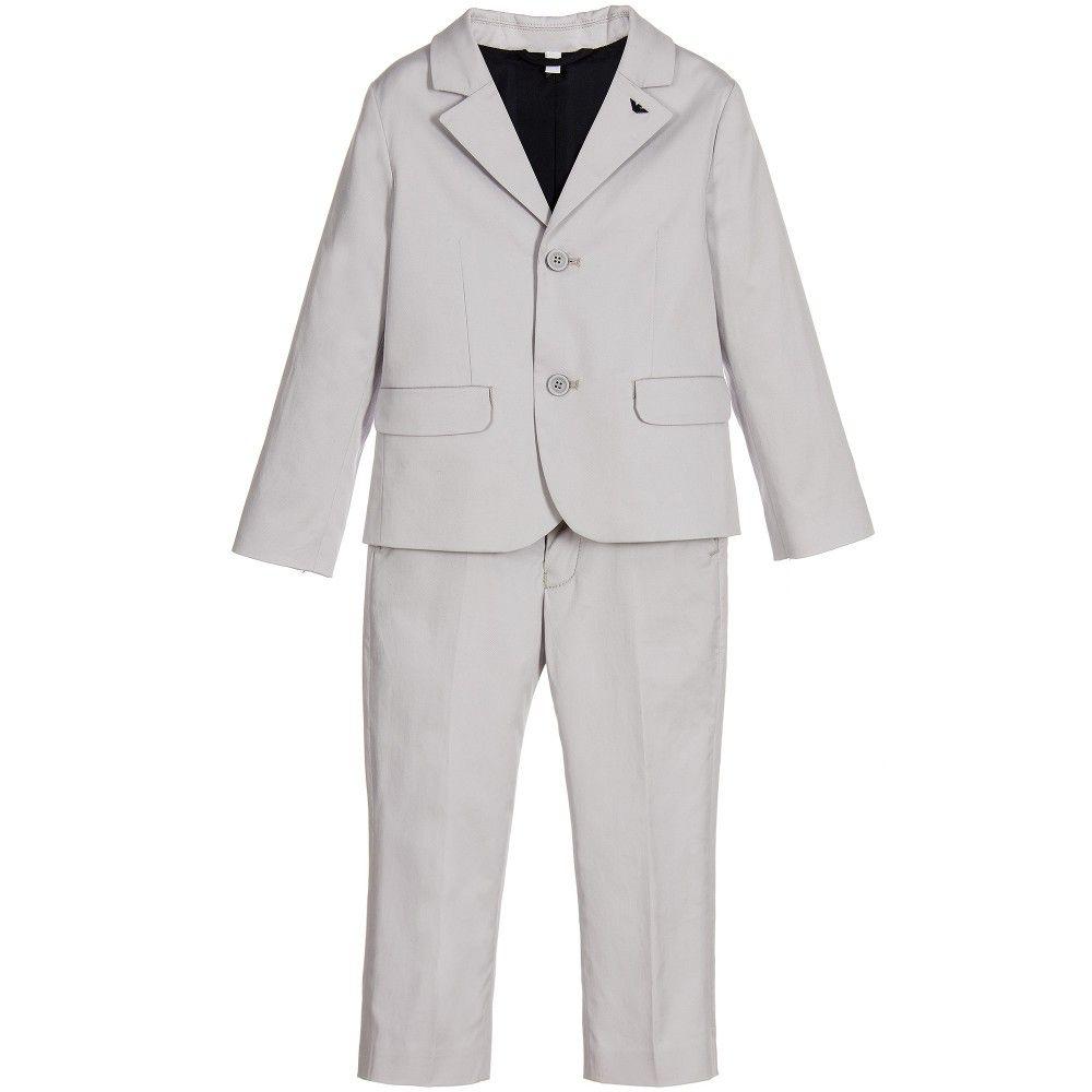 f708430f3 Baby Boys Grey Cotton 2 Piece Suit, Armani, Boy | FORMALWEAR SUITS ...