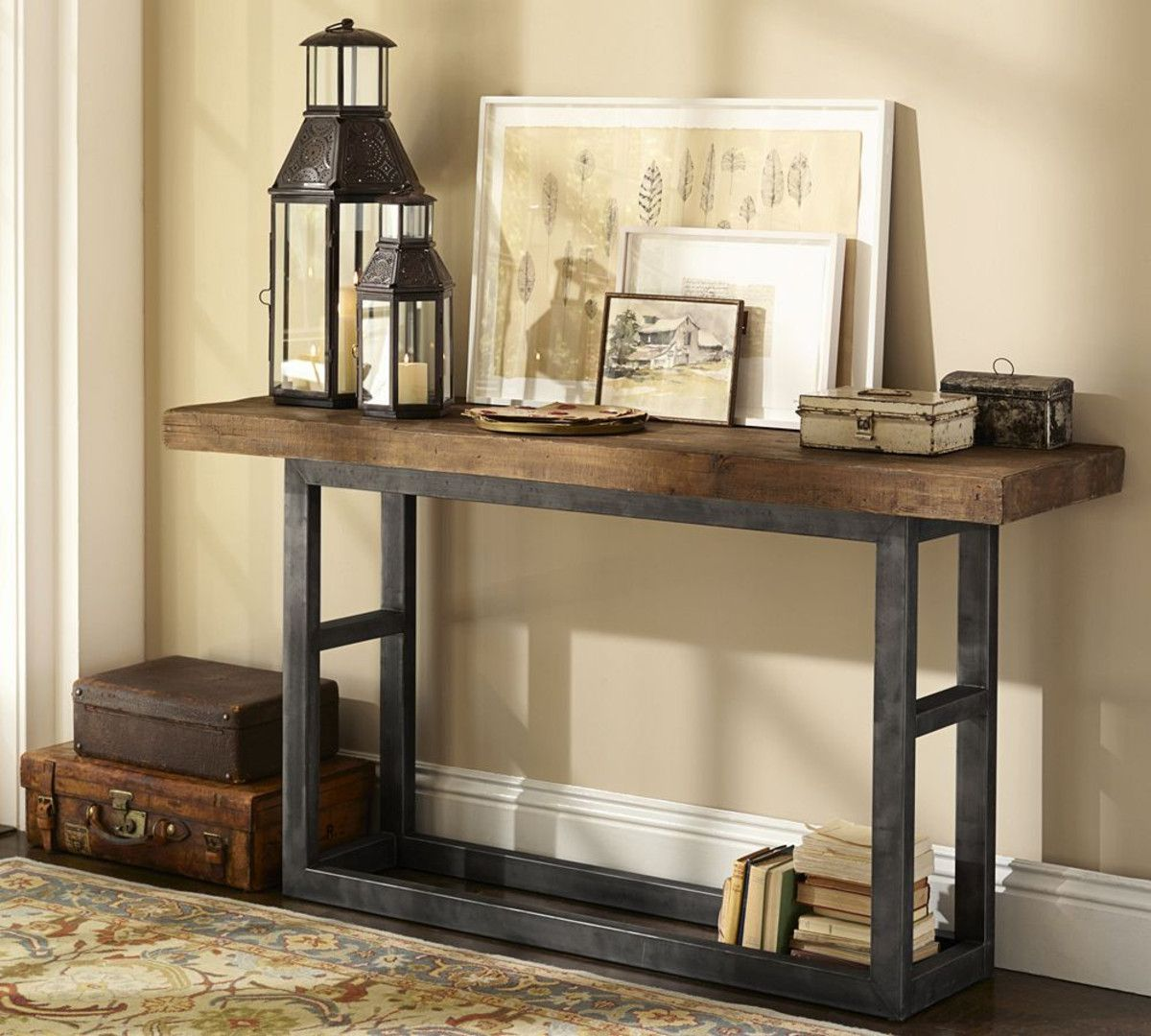 reclaimed wood console table pottery barn Furniture Pinterest