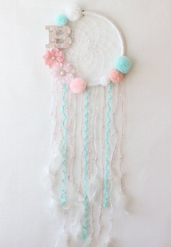 Baby Girl Dream Catcher Wall Hanging, Personalized Baby Gifts For Girl, Crochet Dreamcatcher, Pink Mint Decor Baby Shower Decorations Girl