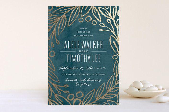 Midnight Foliage Foil-Pressed Wedding Invitations... | Minted