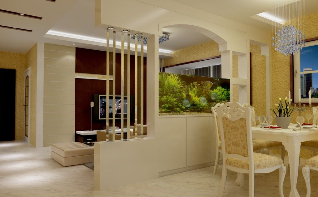 kitchen and dining room open concept wall between dinning and living room partition for dining with aquarium