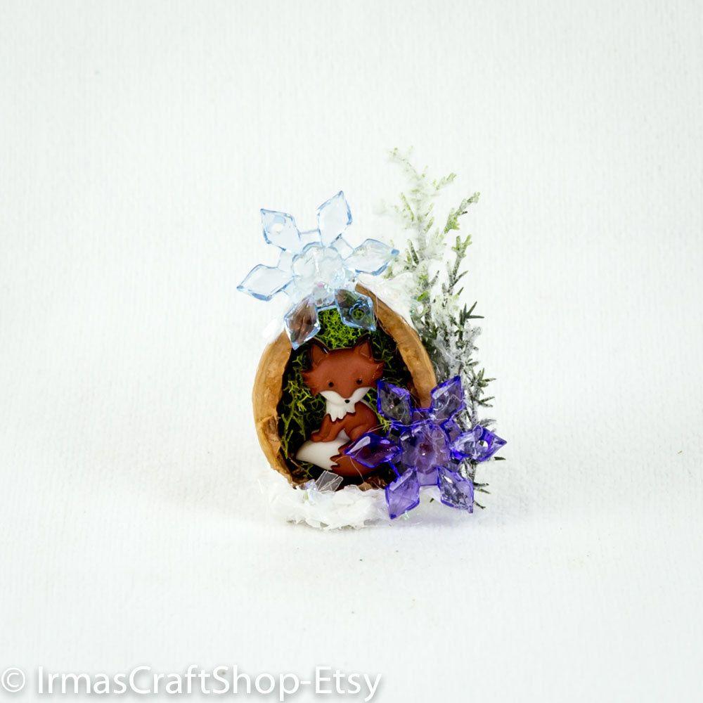 Fairy Christmas Critter,Cute Lil Fox in Walnut home,Fairy Winter Wonderland,Fairy Xmas Fox, Fairy Animal,Fairy Garden Item,Fairy Accessories by IrmasCraftShop on Etsy