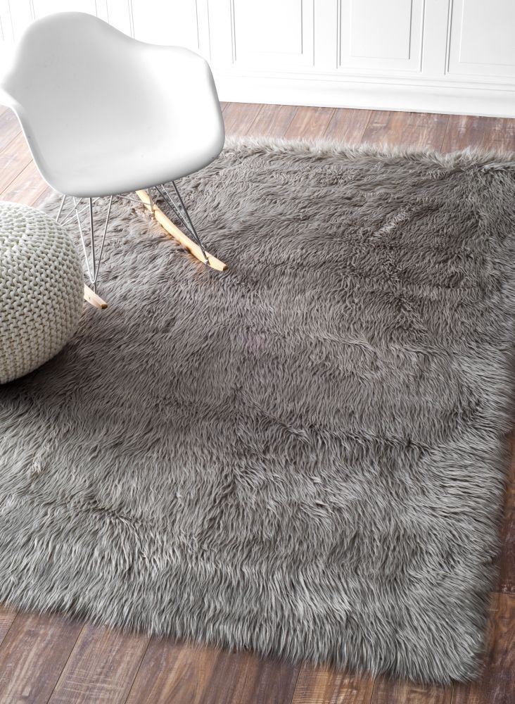 Faux Sheepskin Cloud Solid Soft And Plush Grey Area Rugs 9 Feet By 12 X