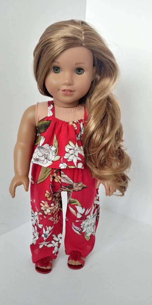18 inch doll clothes. Fits like American girl doll clothes. 18 inch doll clothing. Red floral print jumper #girldollclothes