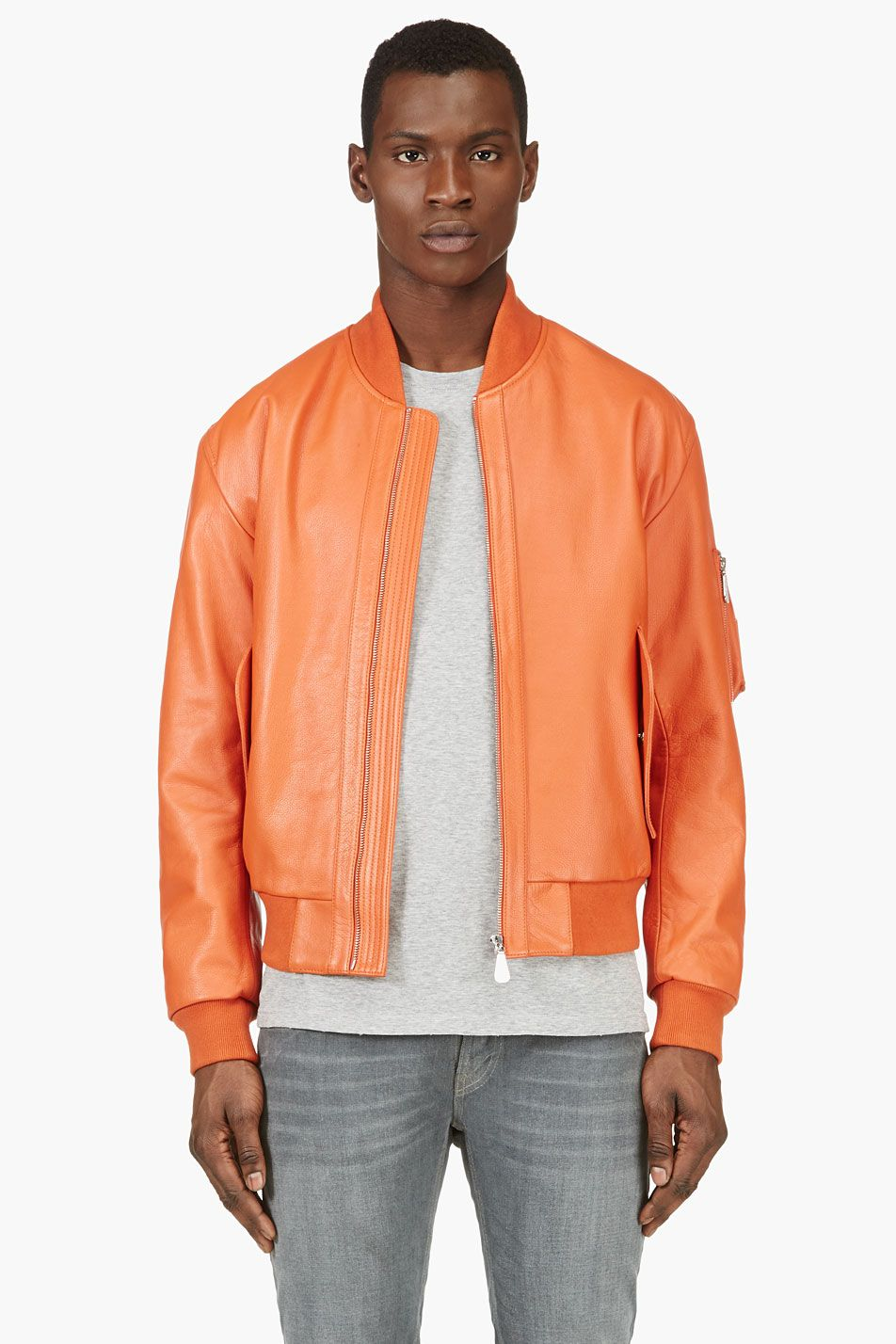 MCQ ALEXANDER MCQUEEN Orange Leather Bomber Jacket | MEN'S STYLE ...