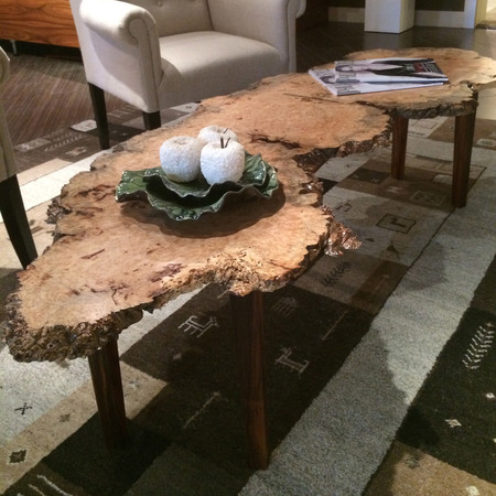 Burled Live Edge Coffee Table Wood Luxe Home Philadelphia