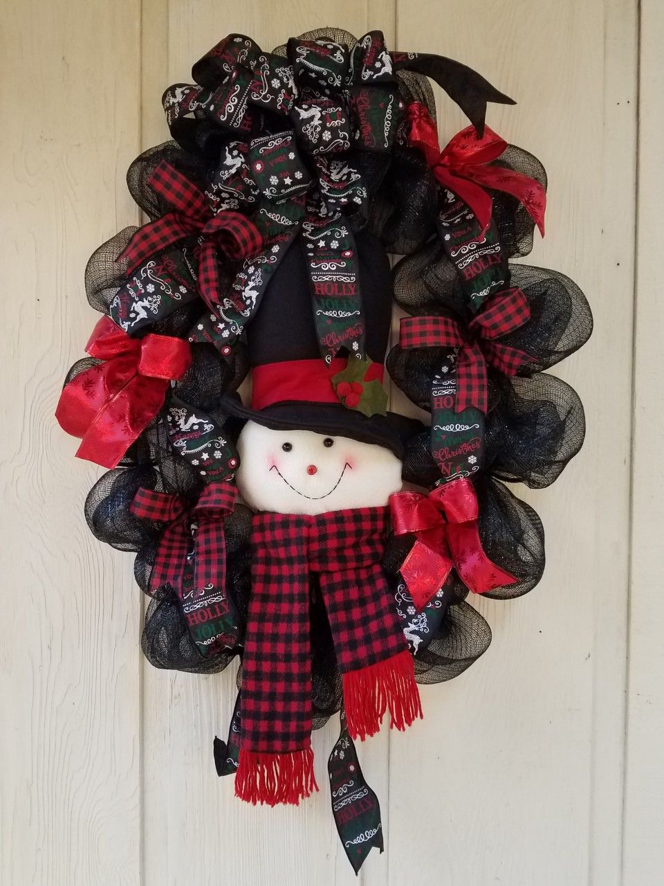 Adorable Black And Red Snowman Wreath With Buffalo Plaid For Sale By Honeypot Junction Snowman Wreath Wreaths Christmas Wreaths