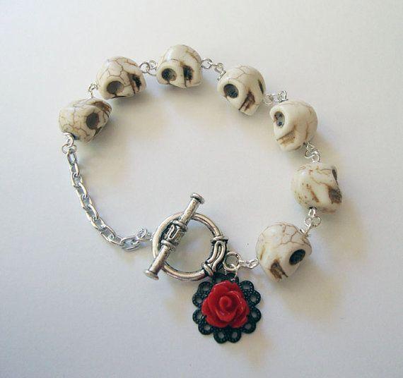 White and Red skull bracelet