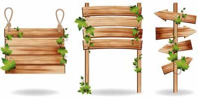 木製看板立て札サイン3種類つる植物が絡んでいるのイラスト無料