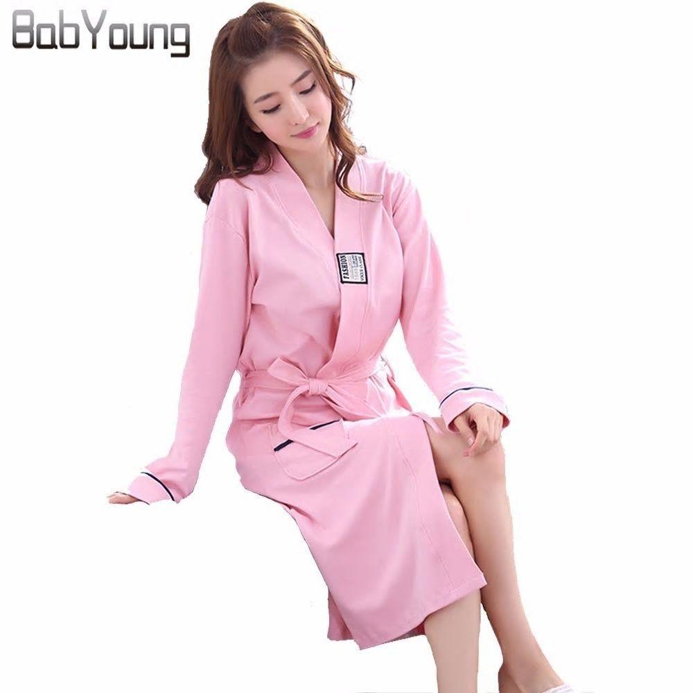 d07aec3667 BabYoung Winter Robes for Women Japanese Kimono Cotton Long Sleeve Robes  Autumn Hotel Bathrobe Elegant Home Pajamas Sleepwear