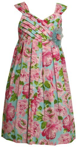 Amazon.com: Bonnie Jean Girls 7-16 Floral Print Crossover Pleated Bodice Dress: Clothing