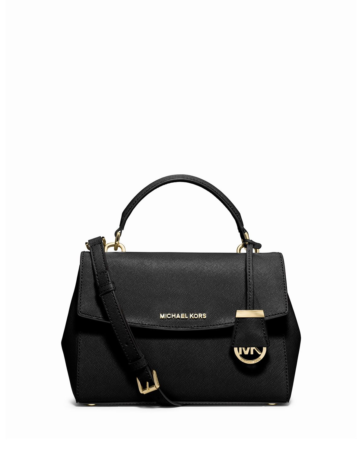 c3347072df4624 Ava Small Saffiano Leather Satchel Bag, Black, Size: S - MICHAEL Michael  Kors