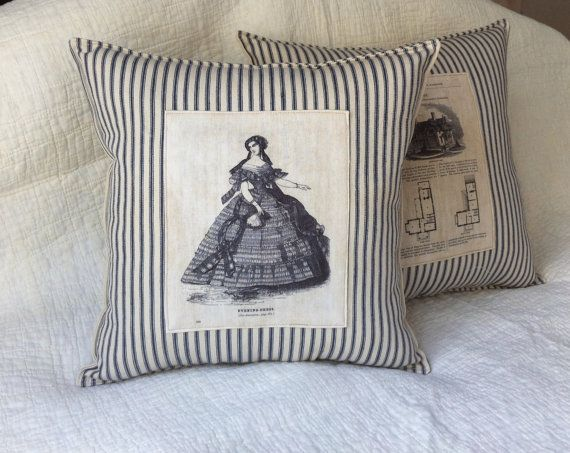 Antique ticking pillow with Victorian Godey's by FranklyMyDearToo, $38.00