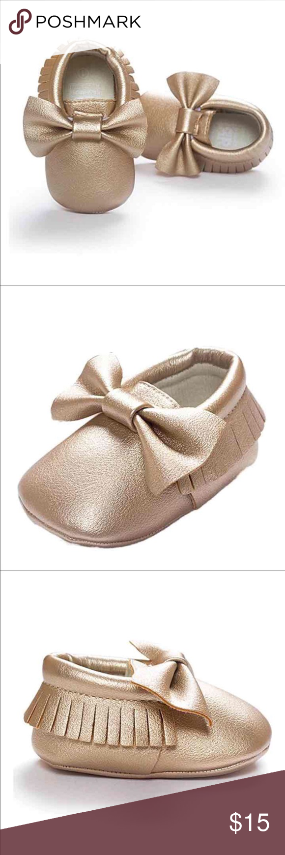 Baby moccasins gold fringe baby moccasins with bow nwt soft sole