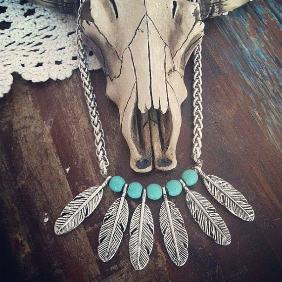 Cherokee dangle silver Native American Featherschocker necklace Bohemian Southwestern Tribal Statement piece Layering necklace by Inali