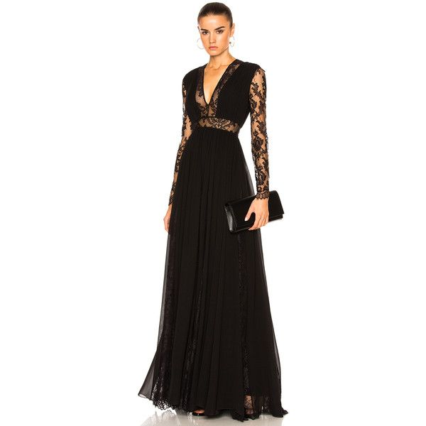 Zuhair Murad Georgette & Lace V Neck Gown (£4,775) ❤ liked on Polyvore featuring dresses, gowns, lace ball gown, zuhair murad evening dresses, v-neck dresses, v neck evening dress and zip back dress