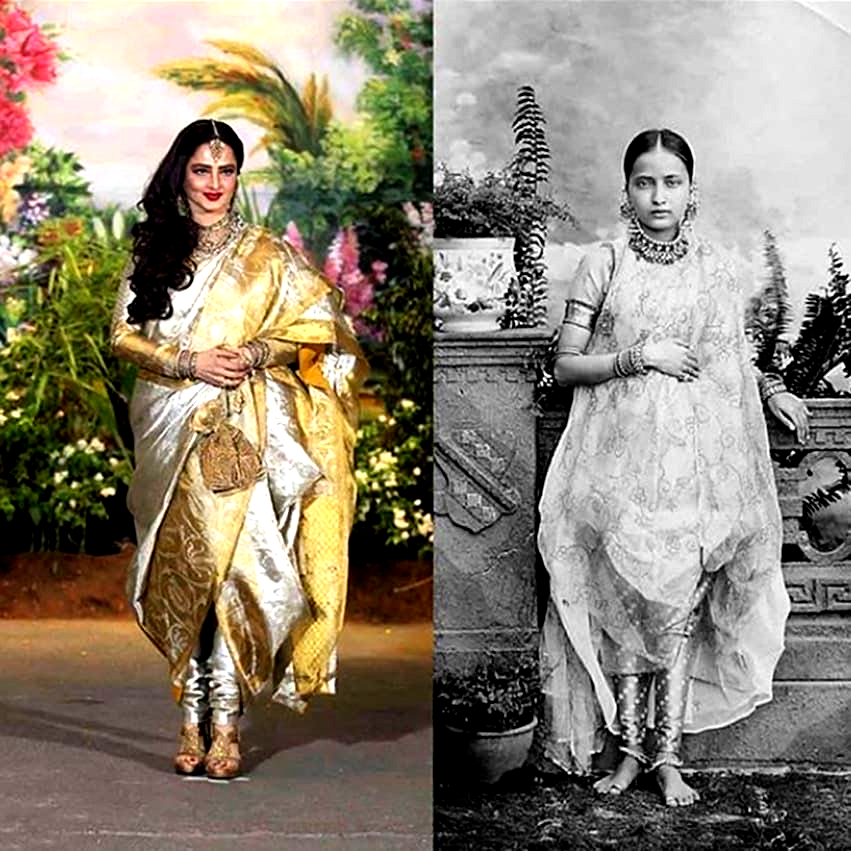 Seen In The Pictures Is A Chaugoshiya Form Of Draping A Saree Which Is Over 150 Years Old It Comprises Of Vintage India Evolution Of Fashion History Of India