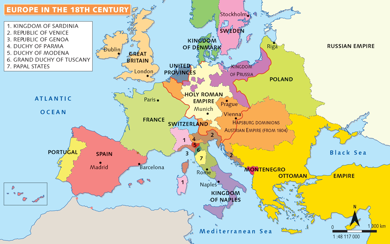 map of europe 18th century Europe during the 18th Century | Republic of venice, Papal states