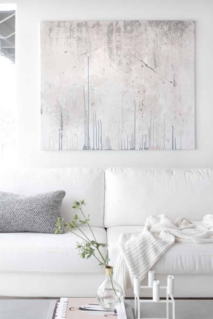 Soft Nude And Pink With Hints Of Dark Grey And Aubergine .plus Amazing Wall  Art In White Living Room
