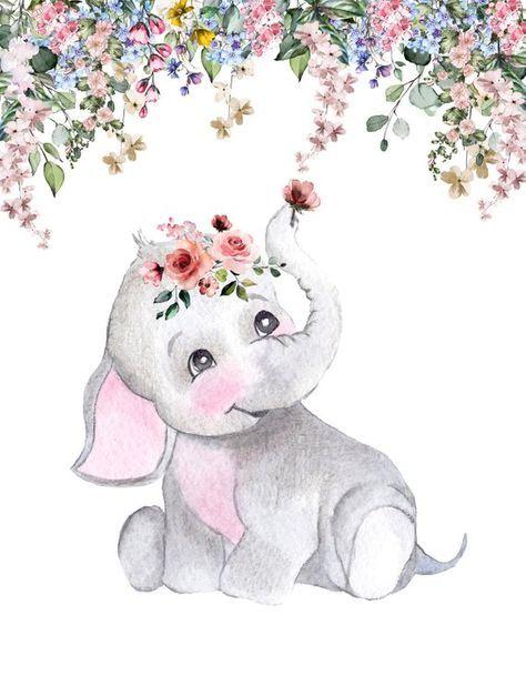 Baby Shower Backdrop, Watercolor Elephant Backdrop, Elephant Theme Backdrop, boho baby shower Backdr