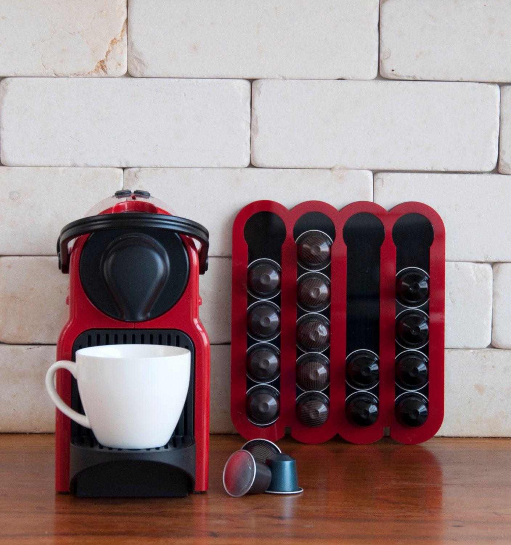 Delightful Red Coffee Pod Holder Capsules Holder Holds 20 Nespresso Pods Storage  Magnetic Coffee Nespresso Pod Stand