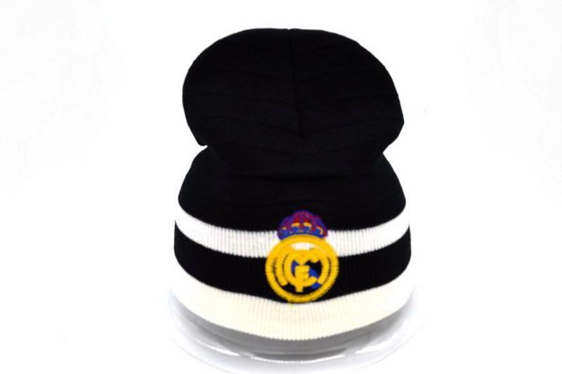 8b4ed249a2f Mens   Womens Real Madrid Winter Warm Fashion Trend Striped Logo Cuff  Soccer Knit Benaie Cap - Black   White