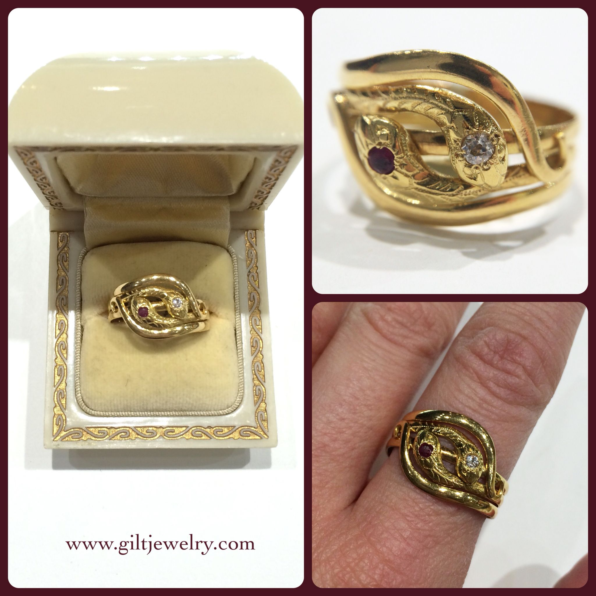 org j three antique rings edwardian diamond jewelry carat serpent dated id ring at for stone sale box gold