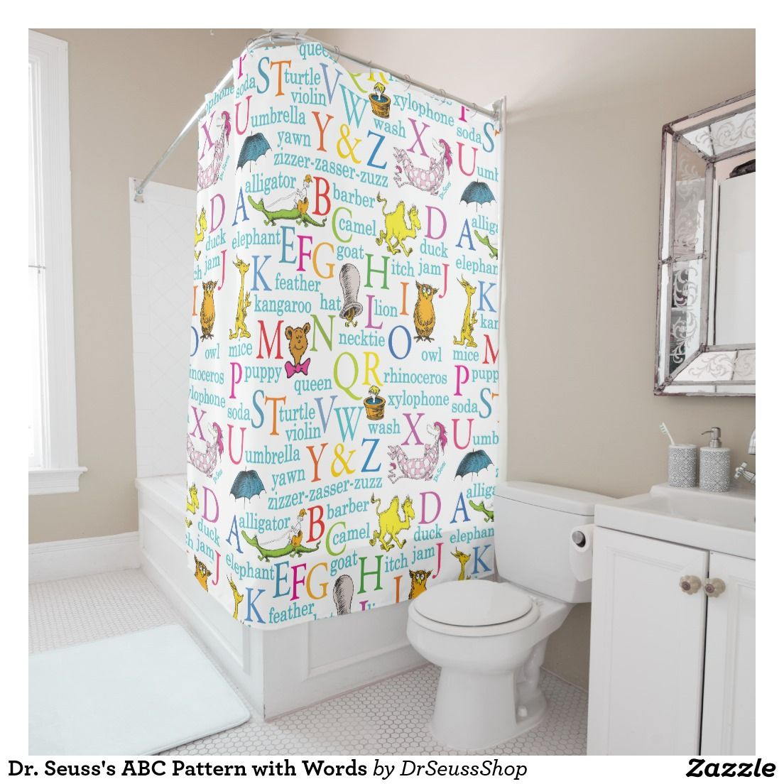Dr. Seussu0027s ABC Pattern With Words Shower Curtain