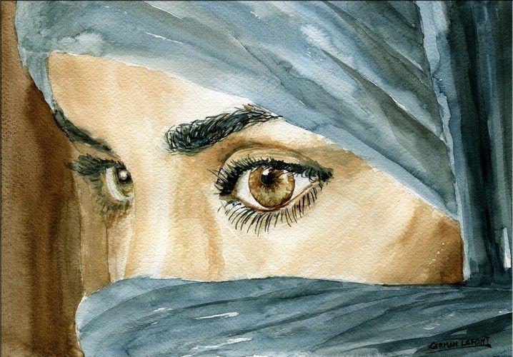 Esta acuarela esta enfocada en los ojos de una mujer, que por su atuendo podría ser musulmana. Su mirada no se dirige hacia nosotros y eso hace que sea un retrato interesante