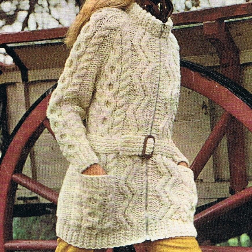 Long Slouchy Cardigan Knitting Pattern PDF Aran Jacket (T154 ...