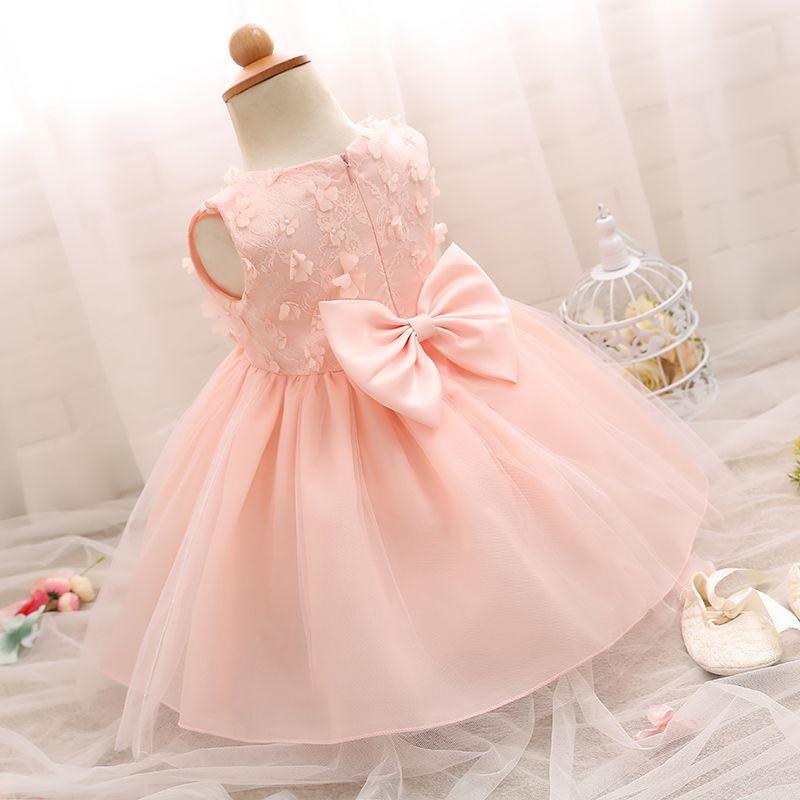 Newborn Party Infant Kids Dress Cute Bow Flower Girls Clothes