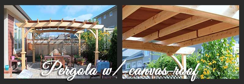 A #pergola with a weather-proof canvas awning! Protects from tree