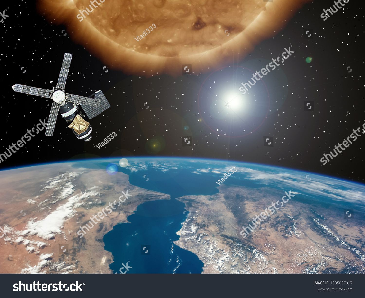 Big Sun And Space Satellite Earth From Space The Elements Of This Image Furnished By Nasa R Sponsored Paid In 2020 Earth From Space Space Pictures Satellites
