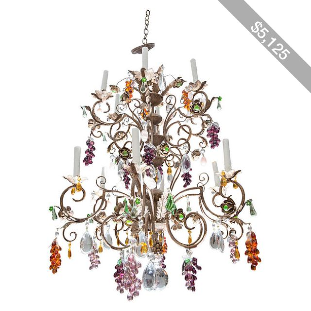 Louis xv style twelve light iron chandelier with colored fruit louis xv style twelve light iron chandelier with colored fruit shaped crystals aloadofball Choice Image