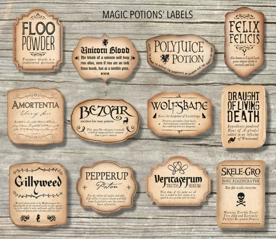 photo about Harry Potter Potion Labels Printable titled 12 Harry Potter Motivated Magic Potions Labels / Printable