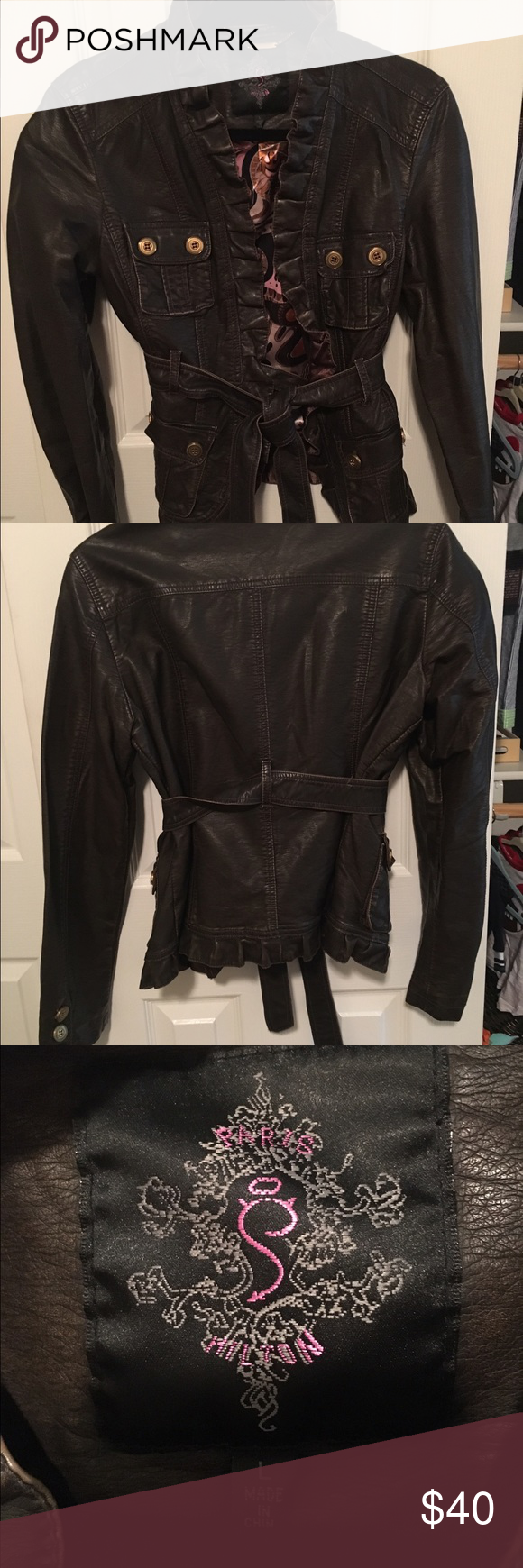 Paris Hilton ruffled edge faux leather jacket EUC  worn once. Very cute fit! Love the ruffle edge! Jackets & Coats Blazers