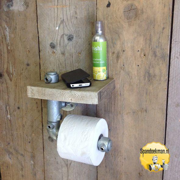Toiletrolhouder enkel met plankje gemaakt met behulp van steigerhout ...