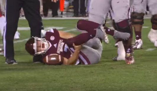 Video Mississippi Quarterback Nick Fitzgerald Broken Leg Injury